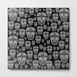 Black And White Sugar Skull Pattern Metal Print