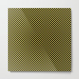Black and Buttercup Polka Dots Metal Print