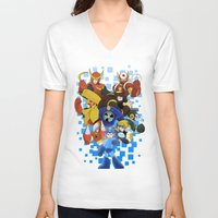 megaman V-neck T-shirts featuring Megaman 2 by Patrick Towers
