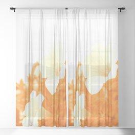 Retro petunia flowers in orange Sheer Curtain