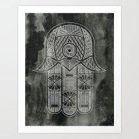 Black and White Hamsa Art Print