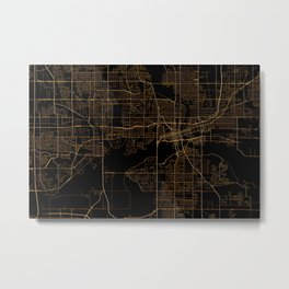 Black nd gold Des Moines map Metal Print