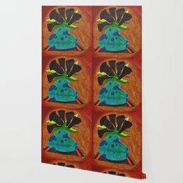 Black Calla Lilies in Blue Vase Wallpaper