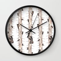 bears Wall Clocks featuring Bears. by Elena O'Neill