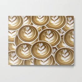 Latte Hearts Metal Print
