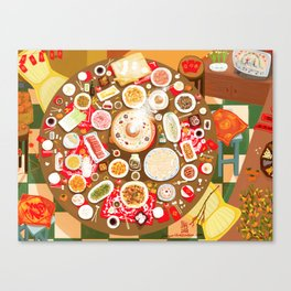 Family Feast for Chinese New Year's Eve Canvas Print