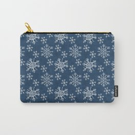 Hand Drawn Snowflakes on Blue Carry-All Pouch