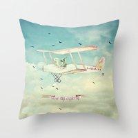 never stop exploring Throw Pillows featuring Never Stop Exploring III by Monika Strigel