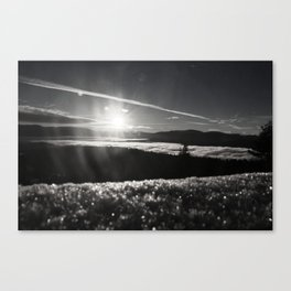 Truckee Sunrise in black and white Canvas Print