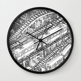 The Town of Train 3 Wall Clock
