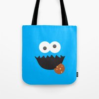 cookie monster Tote Bags featuring Cookie Monster by whosyourdeddy