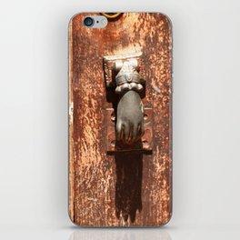 Antique wooden door with hand knockers iPhone Skin