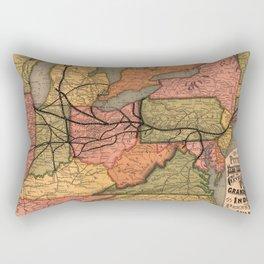 Vintage Ohio River Valley Railroad Map (1874) Rectangular Pillow