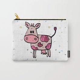 Fun pink hand drawn cow Carry-All Pouch