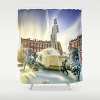 apollo Shower Curtains featuring Oh Apollo! by ExperienceTheFrenchRiviera