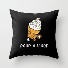Poop a Scoop Funny Ice Cream Soft Serve Throw Pillow