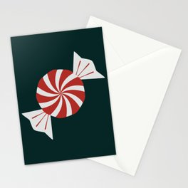 Holiday Candy Canes Lollipops Peppermints Reds Greens Mints Pattern Stationery Cards