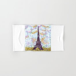 Eiffel Tower Pointillism by Kristie Hubler Hand & Bath Towel
