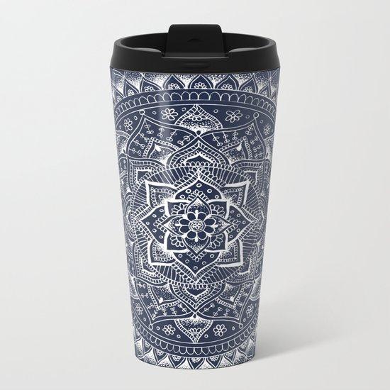 White Flower Mandala on Dark Blue Metal Travel Mug