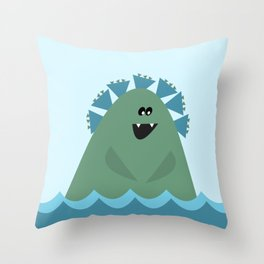 Cute Sea Monster in Blue and Green Throw Pillow