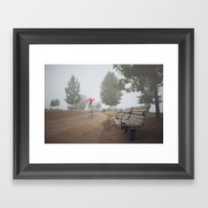 Early commute in the fog Framed Art Print