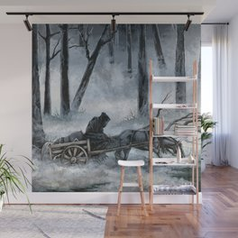 Grim Reaper with Horse in the Woods Wall Mural