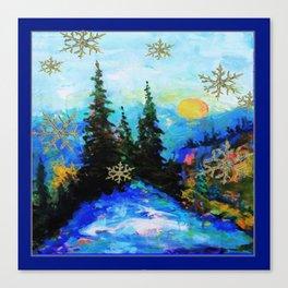Blue Snowy Mountain Scenic Landscape Canvas Print