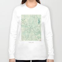 dallas Long Sleeve T-shirts featuring Dallas Map Blue Vintage by City Art Posters