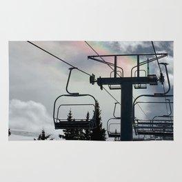 4 Seat Chair Lift Rainbow Sky \\ The Mountain Sun Rays \\ Spring Skiing Colorado Winter Snow Sports Rug
