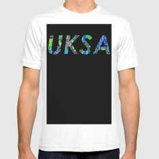 UKSA #3 MEDIUM White Mens Fitted Tee
