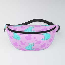Little bears. Cute adorable funny blue baby bear cubs and bold blue retro dots pink pattern design. Fanny Pack