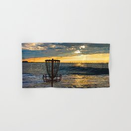 Disc Golf Basket Chesapeake Bay Virginia Beach Ocean Sunset Hand & Bath Towel