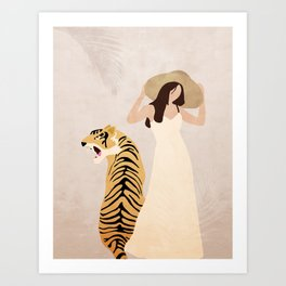 Tiger and Lady Art Print
