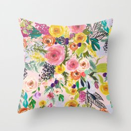 Autumn Blooms Colorful Painted Floral Print // Pink Throw Pillow