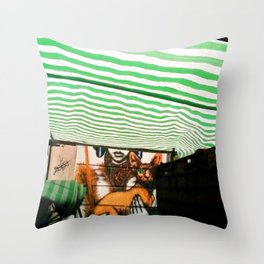 Market cat Throw Pillow