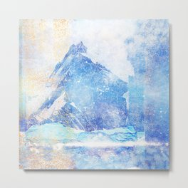 Blue Ice Mountains :: Fine Art Collage Metal Print