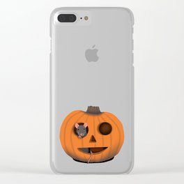 Halloween Rat in a Pumpkin Clear iPhone Case