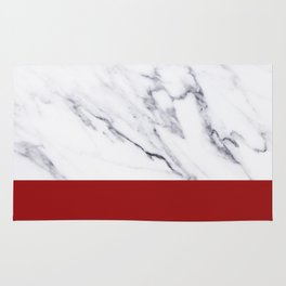 White Marble Red Hot Striped Rug