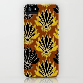 ART DECO YELLOW BLACK COFFEE BROWN AGAVE ABSTRACT iPhone Case
