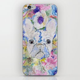Abstract French bulldog floral watercolor paint iPhone Skin