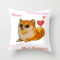 doge Throw Pillows featuring Valentines Doge by Keri Lynne