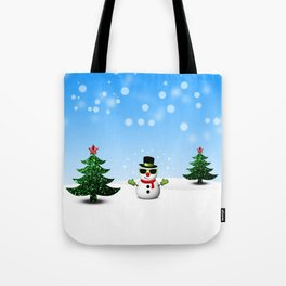 Cool Snowman and Sparkly Christmas Trees Tote Bag