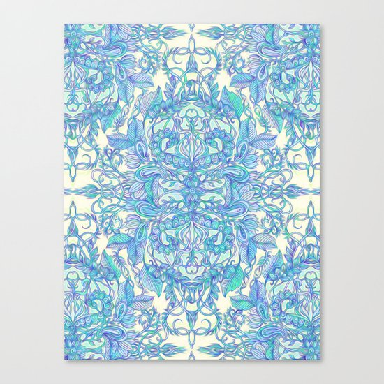 Lilac, Mint & Aqua Art Nouveau Pattern Canvas Print
