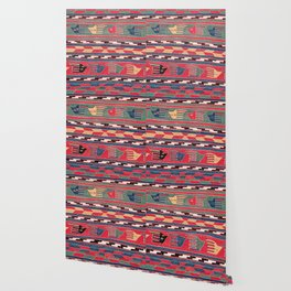 Southwestern Nomad II // 18th Century Colorful Red Blue Green Yellow Shapes and Bands Pattern Wallpaper