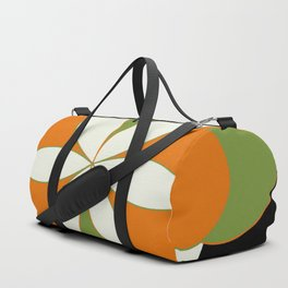 Mid-Century Modern Art 1.4 - Green & Orange Flower Duffle Bag