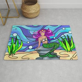 Stained Glass Mermaid Rug