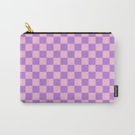 Cotton Candy Pink and Lavender Violet Checkerboard Carry-All Pouch