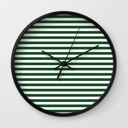 Original Forest Green and White Rustic Horizontal Tent Stripes Wall Clock
