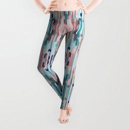 Blue & Pink Chevron Pattern Leggings