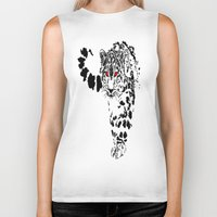 snow leopard Biker Tanks featuring Snow Leopard by Shahbab